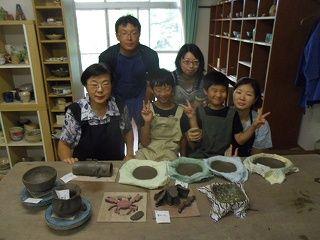 ご家族で夏休み陶芸体験