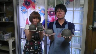 陶芸体験でカップ&シガーソーサー