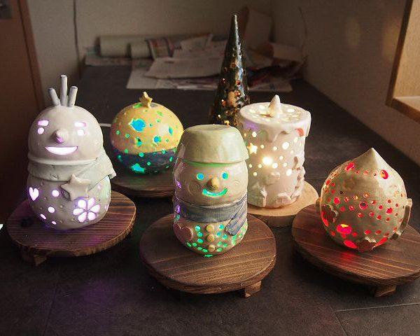 陶器灯りの陶芸体験作品が焼きあがってきました